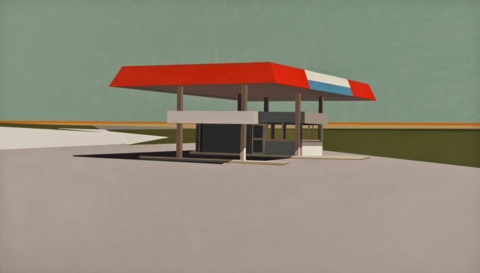 Summer-Grey-Gas-Station-in-Patina-Blue-oil-on-panel-12-x-21-inches-2012
