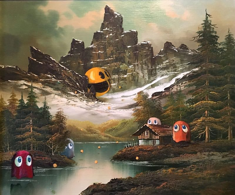 dave-pollot-paints-characters-from-games-movies-and-shows-into-discarded-paintings-13