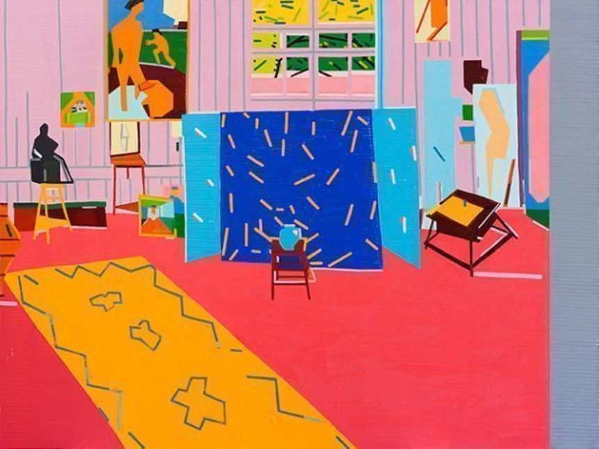 Guy-Yanai-Pink-Studio-For-Ava-After-Matisse-2014-oil-on-linen-180-x-240-cm