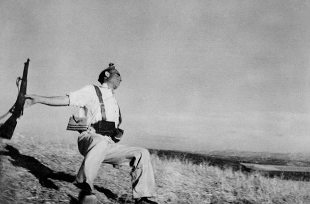 "SPAIN. Cerro Muriano, Cordoba front. September 5th, 1936. Republican militiaman (Federico BORRELL GARCIA) at the moment of death. (""The Falling Soldier"")."